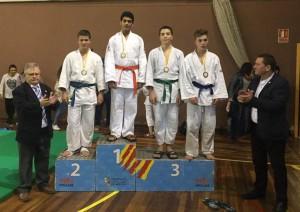 Kaisan Molina en el primer lloc del podi. Fotografia: Facebook Club Judo-Karate la Llagosta.