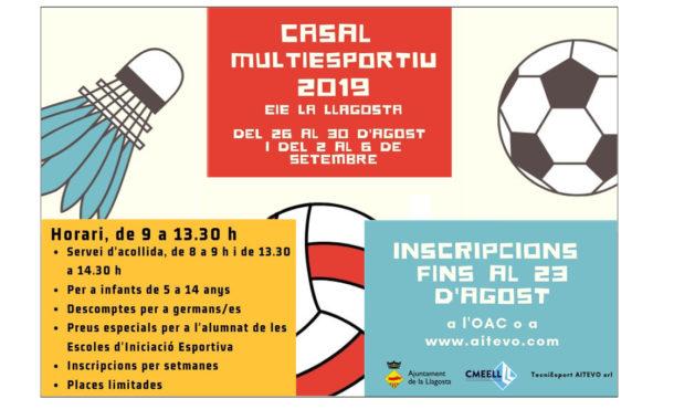 L'Ajuntament organitza el Casal Multiesportiu d'Estiu de 2019