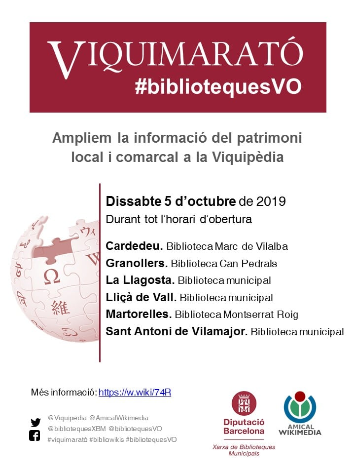 La Biblioteca de la Llagosta celebrarà demà dissabte la Viquimarató