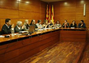 Marta Melgar, al fons, rep els aplaudiments del Ple.
