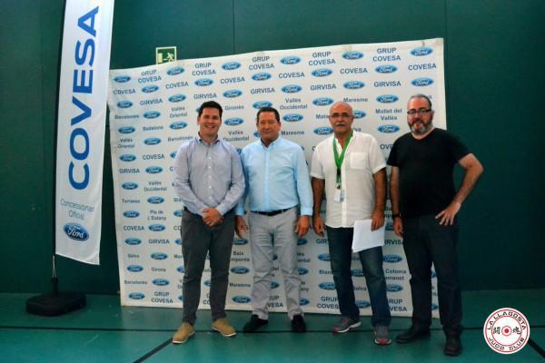 D'esquerra a dreta: l'alcalde, óscar Sierra; el president de la federació, Fermin Parra; el director esportiu, Jordi Yuste; i el regidor d'Esports, Jordi Jiménez.