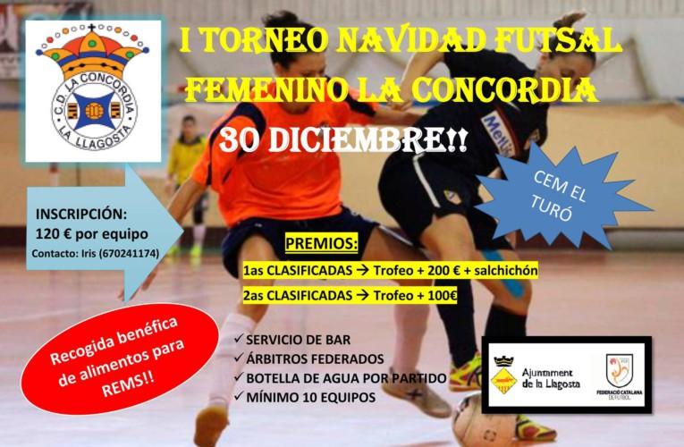 El CD la Concòrdia celebrarà el 30 de desembre un Torneig de futbol sala femení