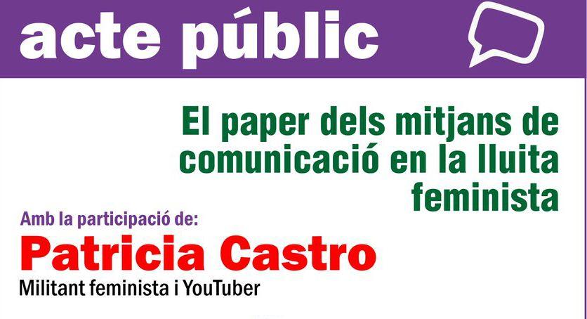 EUiA, ICV i Podemos de la Llagosta organitzen una xerrada sobre el paper dels mitjans en la lluita feminista