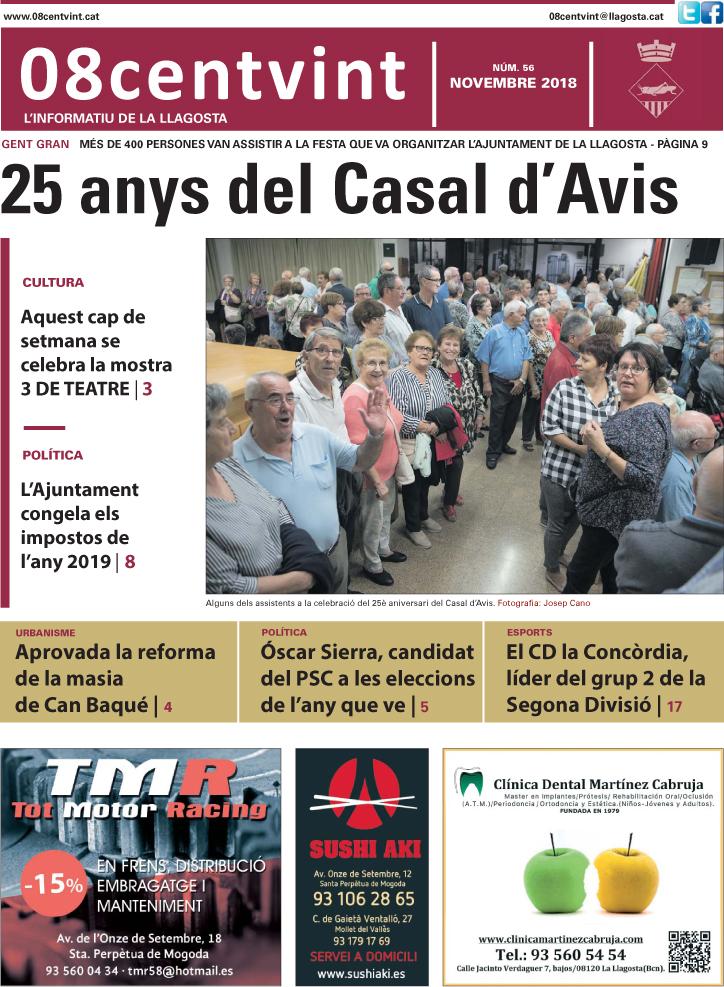 Els 25 anys del Casal d'Avis, a la portada del 08centvint de novembre