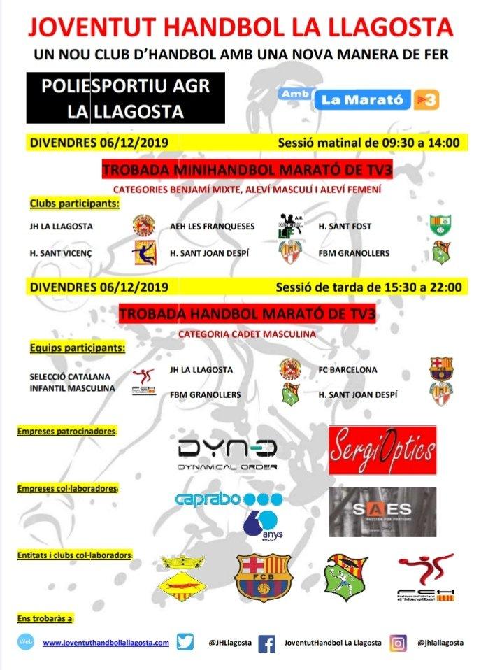 El Joventut Handbol organitza divendres la Trobada d'handbol per la Marató de TV3